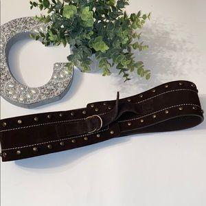 Candie's Wide Studded Brown Leather Belt